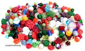 Ladybug-Garden-Mix-1-4-LB-Pound-Preciosa-Czech-Glass-Assorted-Bulk-Lot-Beads