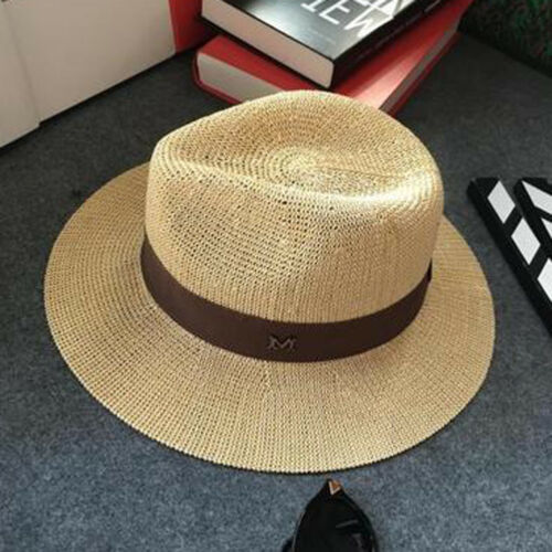 Men Women Summer Straw Wide Brim Panama Fedora Trilby Hat Sunshade Gentle Cap