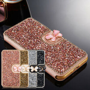 Bling-Crystal-Diamond-Butterfly-Flip-Card-Wallet-Cover-Case-For-iPhone-Samsung
