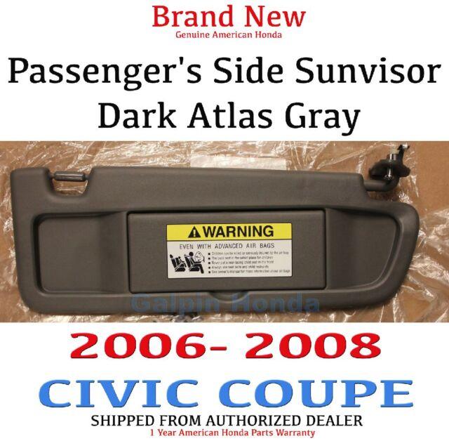 06-08 Honda CIVIC 2DR Genuine Passenger Dark Atlas Gray Sunvisor 83230-SNA- 8dd27b9f6b1