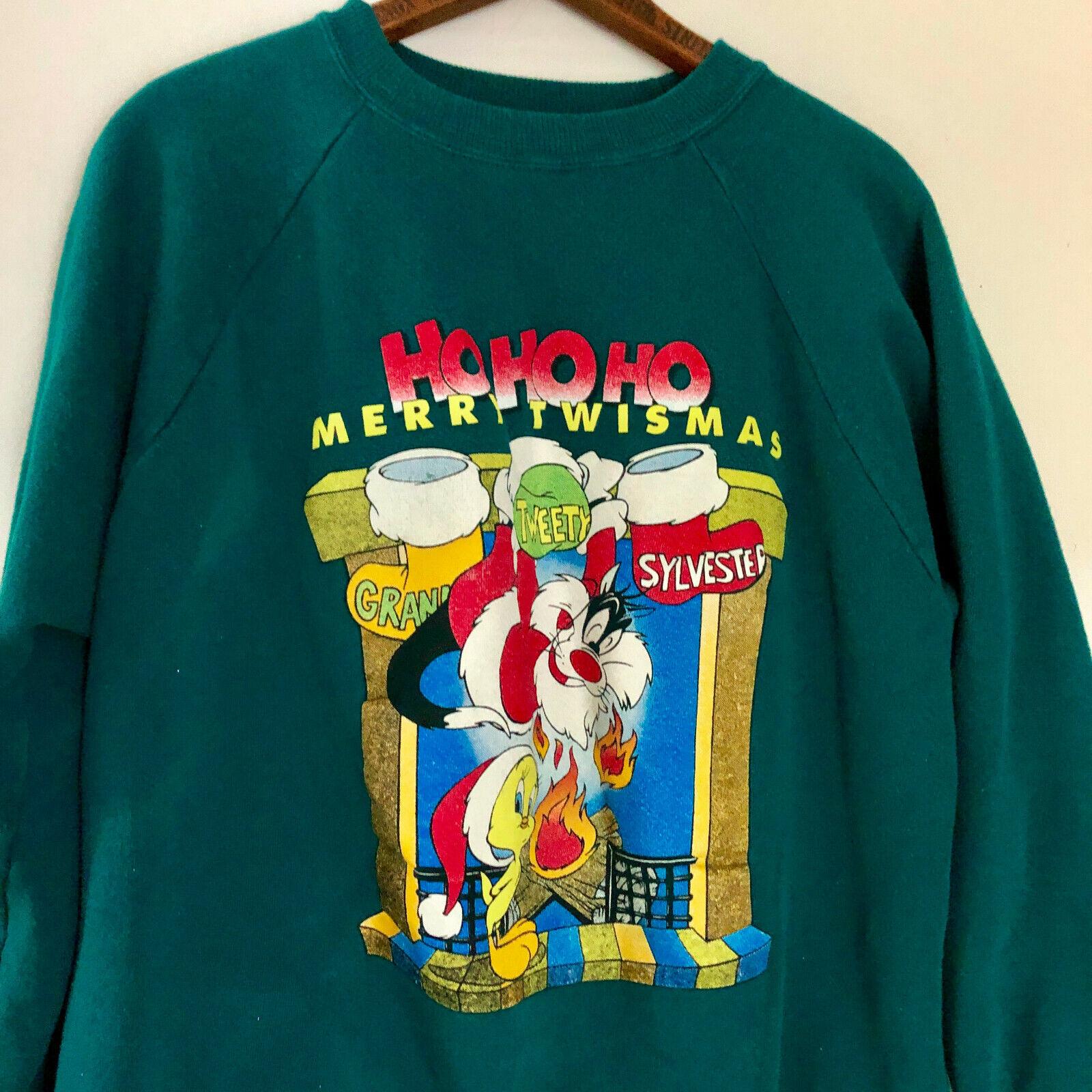 Vintage 90s Looney Tunes Sweatshirt Medium M Tweety Bird Sylvester Cat Christmas