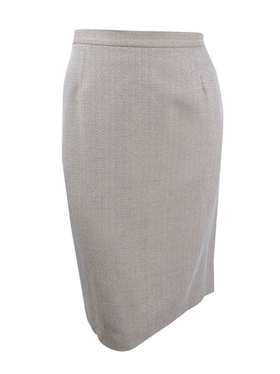 Le Suit Women's Plus Size Herringbone Skirt 14W, Khaki Multi
