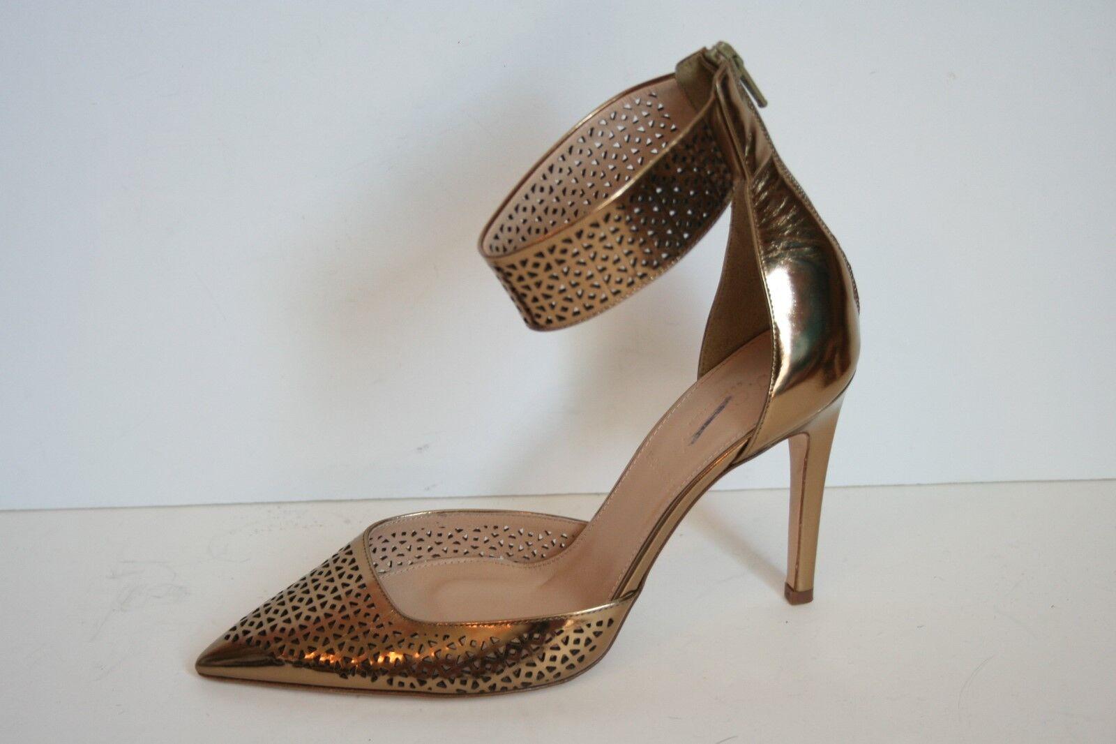 JCrew Collection Natasha Perforated Mirror Metallic Pumps 7.5 Dark Gold Ankle