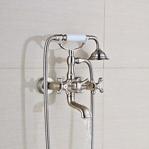 Wall Mount Clawfoot Brushed Nickel Bathroom Tub Faucet