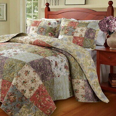 Country Cottage Patchwork Quilted Bedspread Set Oversized King floor