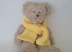 Teddy-Bear-Clothes-Pastel-Yellow-Hand-Knitted-Scarf