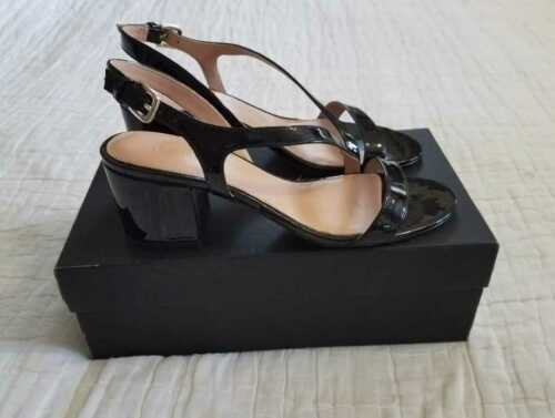 NEW WOMEN/'S J CREW PATENT ASYMMETRICAL STRAPPY SANDALS HEELS IN BLACK DEEP BLUSH