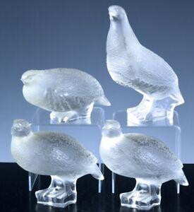 ESTATE-LOT-4-LALIQUE-FRANCE-FRENCH-ART-GLASS-PHEASANT-PARTRIDGE-BIRD-FIGURES
