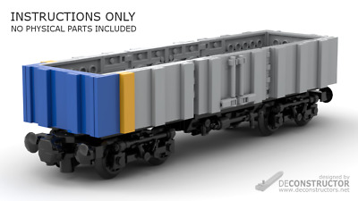 building INSTRUCTION only built from LEGO® parts CARGO TRAIN CAR OPNED