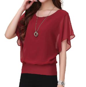 Plus Size Womens Ruffle Batwing Short Sleeve Shirts Tops Summer Chiffon Blouse