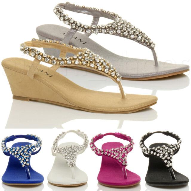Ladies Beaded Womens Size Mid Wedge Heel Diamante Slingback Sandals Toe Post JF1KuTlc35