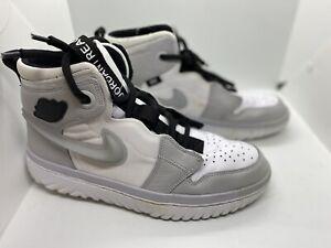 Mens Air Jordan 1 High React Ar5321 100 White Grey Fog Black Used