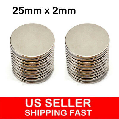 5-50Pcs Super Strong Round Disc 25mm x 2mm Magnets Rare Earth Neodymium N35 Lot