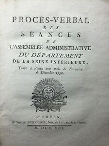 Normandie en 1790 Rouen Bourg Baudouin Fécamp Honfleur Ingouville Yvetot Palloy
