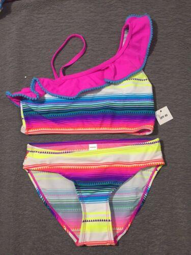 Neon Stripe Joe Boxer Girls Ruffle Top Two Piece Bikini Swimsuit Pick Size