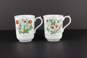 Vintage Strawberry Flower Japan Coffee Cup Mug Set of 2