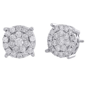 1d0738fac 14K White Gold Real Round Diamond 4 Prong Cluster Stud 12mm Mens ...