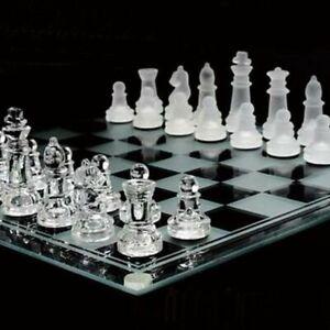 Jeux-d-039-echecs-en-verre-Echiquier-dimension-25x25cm-32-pieces