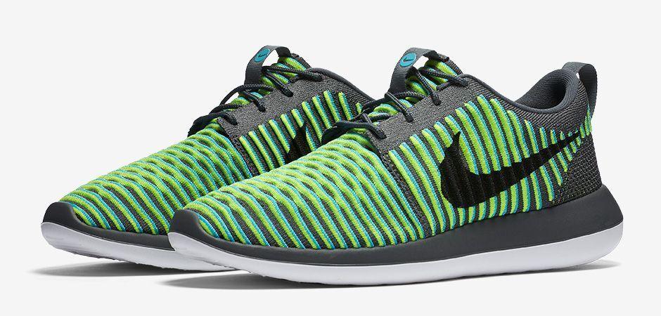 Nike Roshe Two 2 Flyknit 9.5 844833-004 844833-004 844833-004 Gris Bleu Fluorescent Jaune Noir New 500ae4