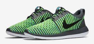 Nike Roshe Two 2 Flyknit 9.5 844833-004 Grey Blue Fluorescent Yellow ... 275b44b79fea