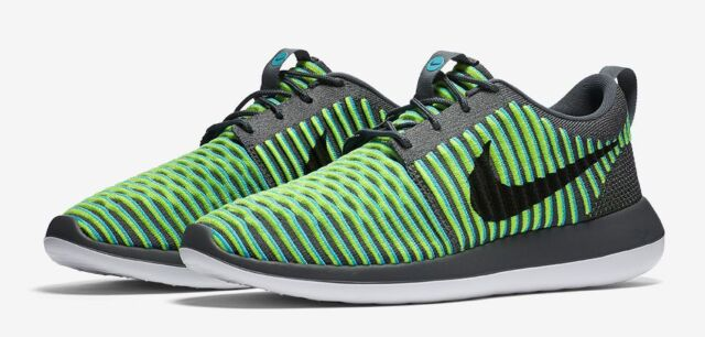 0106f04f9c70 Nike Roshe Two 2 Flyknit 9.5 844833-004 Grey Blue Fluorescent Yellow Black