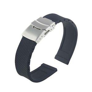 Faltschliesse-Armband-Schwarz-Silikonkautschuk-Uhrenarmband-Wasserdicht-e