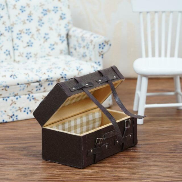 1:12 Doll house Miniature Vintage Leather Wood Suitcase Mini Luggage Box Supply