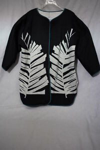 """VERY VOLLBRACHT Black & White Quilted """"LEAF"""" Jacket Womens Size XL-B77"""