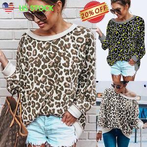 US-Womens-Leopard-Print-Long-Sleeve-Loose-Tops-Casual-Pullover-Sweatshirt-Blouse