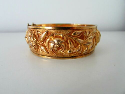 Antique Victorian Embossed Brass Floral Motif Hinged Cuff Bracelet