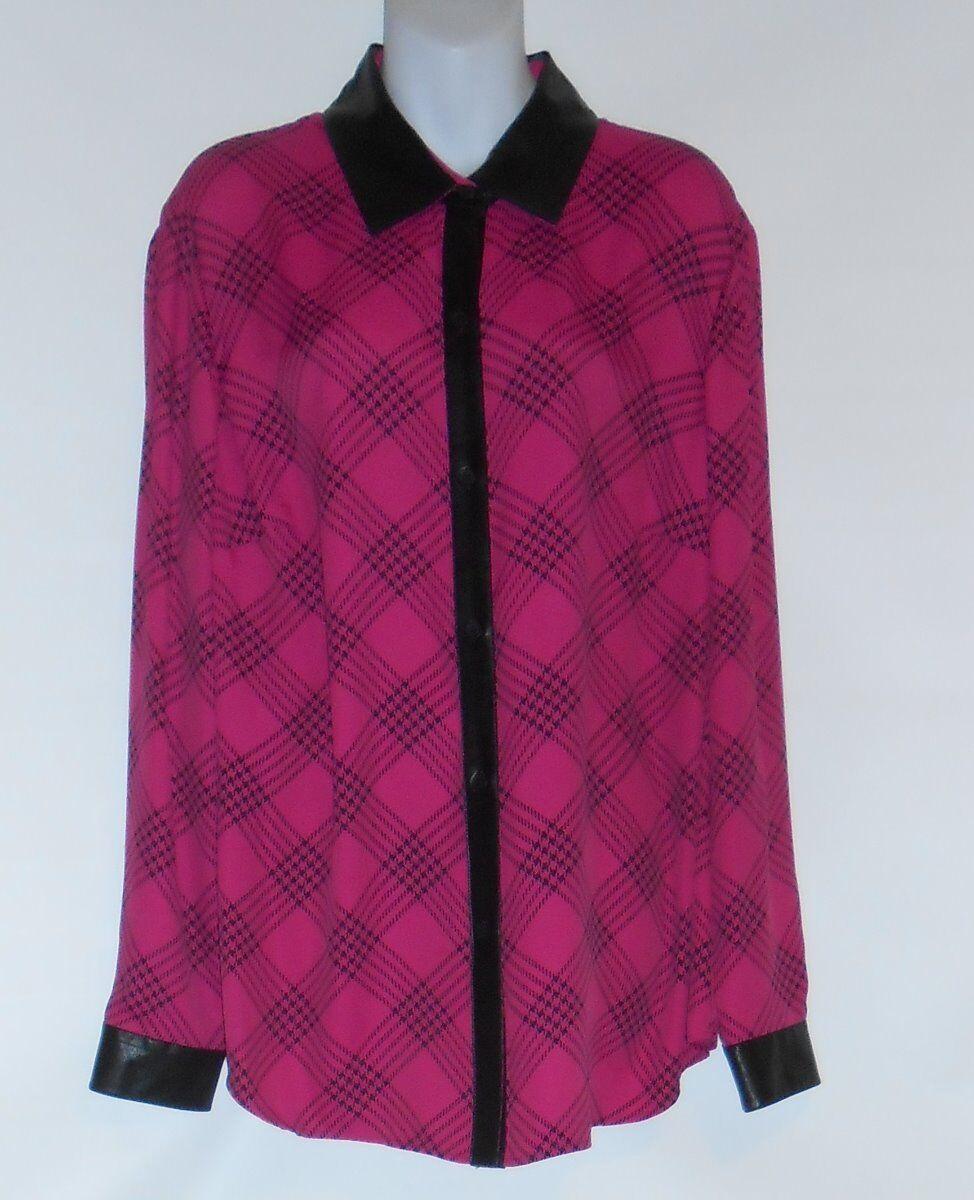 Jones New York Collection Plus Größe Faux Leather Trim Long Sleeve Blouse 18W NWT