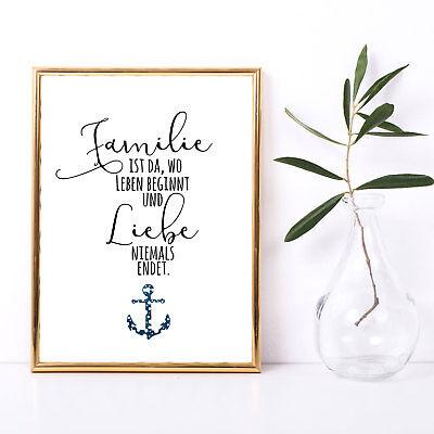 Print Poster A3 mit Spruch Motto Familie Liebe Plakat