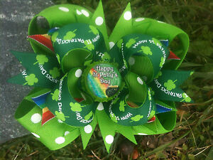 HAPPY-ST-PATRICK-039-S-DAY-PERSONALIZED-INITIAL-BOTTLECAP-HAIRBOW-WITH-OPTIONS