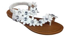 Womens Gladiator White Sandals With Hawaiian Flowers And Rhinestones