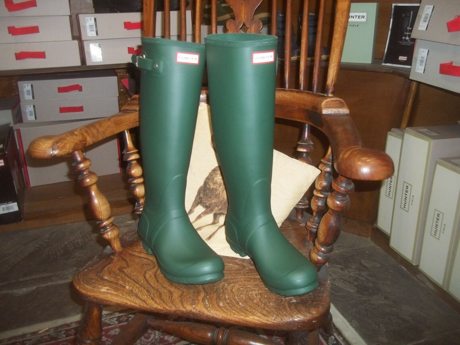 HUNTER WELLINGTONS IN HALIFAX Damenschuhe GREEN TALL ORIGINAL SIZE LADIES 5  EU 38 LADIES SIZE 32440a