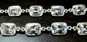 Natural-Rock-Crystal-Quartz-Cushion-Shape-Briollete-Connector-Bezel-Chain-10mm