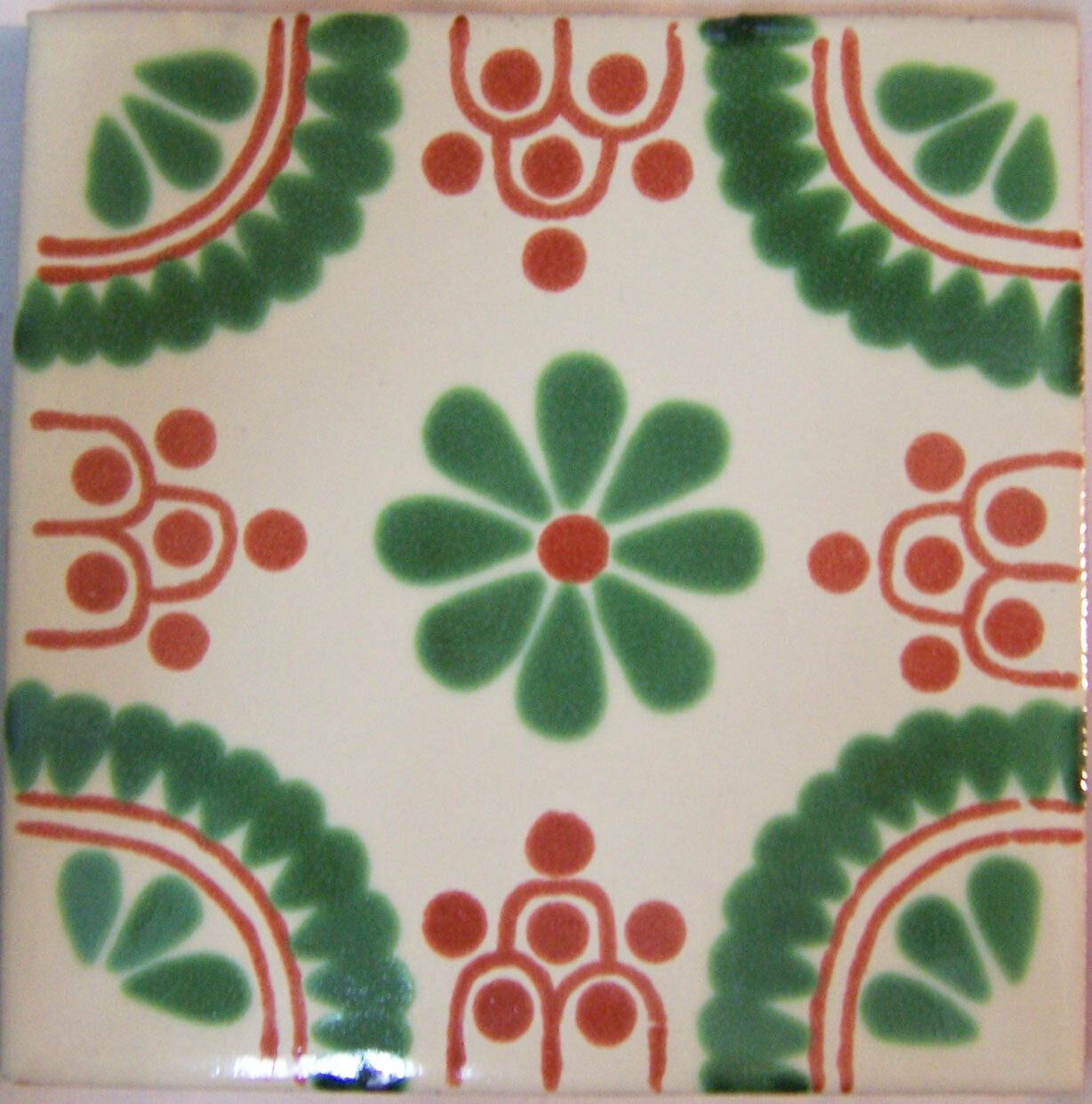 C279- Mexican Handmade Talavera Clay Tile Folk Art 4x4
