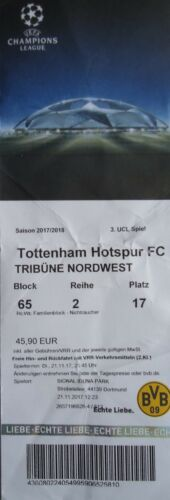TICKET UEFA CL 2017//18 Borussia Dortmund Tottenham Hotspur