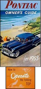1953 Pontiac Chieftain Deluxe Convertible Manuel Du Propriétaire Set Guide Grandes VariéTéS
