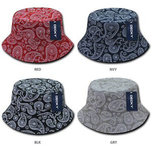 dacc2643c06 Image is loading Paisley-Bandana-Print-100-Cotton-Bucket-Hat
