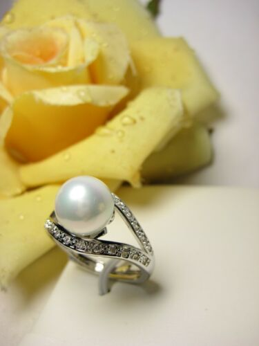 Fingerring 925 Silber vergoldet Muschelkernperle Zirkon 10 mm Perlen Schmuck