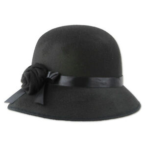 Roaring 20s Felt Cloche Hat Black Flower Rose Women s Fedora Flapper ... 1fdd5038b0f
