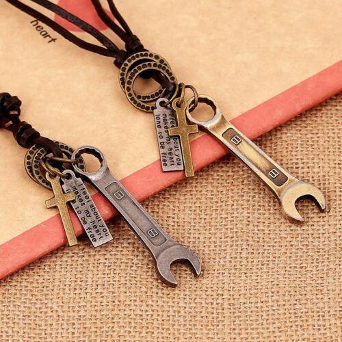 SCHRAUBERKETTE Mode Werkzeug Halskette Vintage ECHT LEDER Werkstatt Schmuck KFZ
