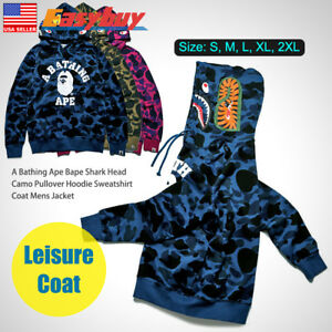 A-Bathing-Ape-Shark-Head-Camo-Pullover-Hoodie-Sweatshirt-Coat-Mens-Jacket