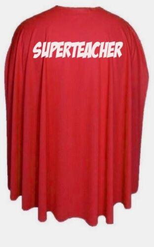 """Gli adulti 35/"""" SUPER Insegnante Supereroe Mondo insegnanti Giorno Costume Cape IDEA REGALO"""
