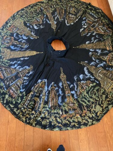 Vintage 1950s Circle Skirt Mexican Sequined Gold M