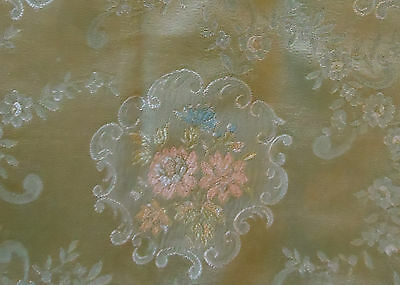 Antique Vtg. Satin Brocade Floral Fabric ~ Soft Sage Celadon Pink Blue Apricot