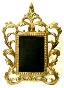 Vintage-Ornate-Heavy-Brass-Picture-Frame-3-5-034-x-5-034-Victorian-Baroque-Easel-Back