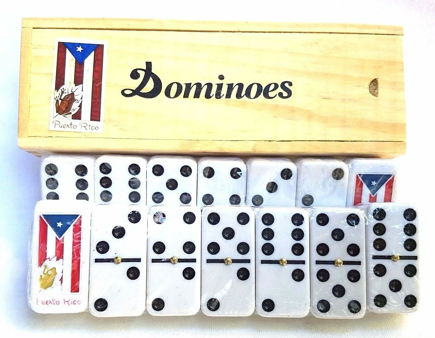 Lot of 6 Professional Puerto Rico Flag Double Six Dominos Dominoes Rican COQUI