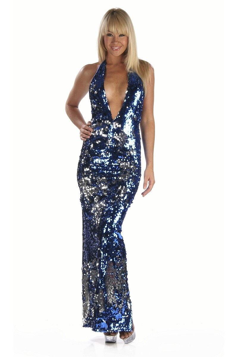 Sexy Abendkleid Pailetten Neckholder Gr. S 32-34 blau silber Handmade in USA